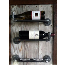 Industrial Copper Pipe Bottle Glass Holder Wine Gin Home Bar Cellar Counter