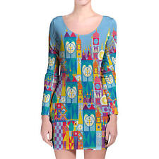 Its A Small World Disney Parks Inspired Longsleeve Bodycon Dress XS-3XL All-Over
