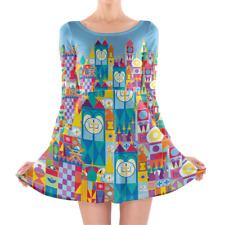 Its A Small World Disney Parks Inspired Longsleeve Skater Dress XS-3XL All-Over-