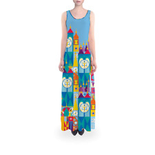 Its A Small World Disney Parks Inspired Flared Maxi Dress Sizes XS - 5XL