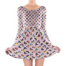 Disney Princess Mouse Ears Longsleeve Skater Dress XS-3XL All-Over-Print