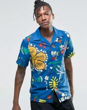 Adidas X Pharrell Williams Floral Summer Doodle Button Bowling Shirt Blue Multi