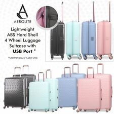 Aerolite Lightweight ABS Hard Shell 4 Wheel Luggage Suitcase with USB Port