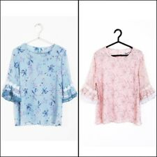 URBAN MIST Womens Classic Blue Pink Floral Print Chiffon Floaty Blouse Top