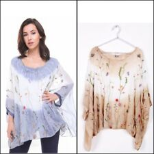 URBAN MIST Womens Oversized Tie Dye Floral Embroidered Batwing Sleeve Blouse Top