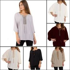 URBAN MIST Womens Chiffon Eyelet Lace Up Front Detail Casual Dressy Batwing Top