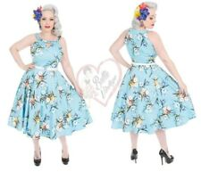 Hearts & Roses 50s Blue Vintage Lizzy Mix Floral Rockabilly Swing Cocktail Dress