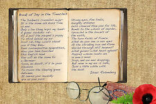 Isacc Rosenberg Break of Day Trenches First World War poem A5/A4 canvas Print