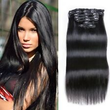 Clip In Hair Extension Natural Black #1B 100% Remy Human Hair Silk Straight/Wavy