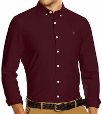 Farah Brewer Long Sleeved Slim Fit Shirt in Bordeaux