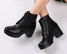 Ankle Boots Leather High Heels Platform For Winter & Autumn Warm Fur Women Shoes