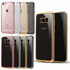 ELECTROPLATED BUMPER GEL BACK CASE FOR IPHONE X 8 7 SAMSUNG GALAXY S9 S8 Plus S7