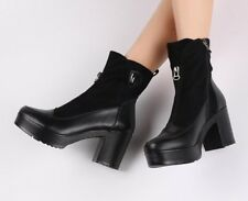 Ankle Boots For Women High Heels Ladies Platform Leather Shoes Autumn And Spring