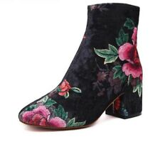 Ankle Boots Womens Shoes Autumn Winter Lady Footwear High-top Print Bootie Heels