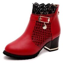 Ankle Boots Lace Cuff Heels Women Autumn Winter Shoes For Ladies Flats Footwear