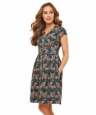 Joe Browns Womens Leaf Print Tea Dress with Button Detailing