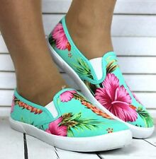 Ladies Blue Green Slip On Flat Trainers Sneakers Plimsolls Skater Pump Wide Shoe