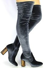 New Womens Ladies Thigh High Over The Knee Heel Long Stretch Boots Shoes Size