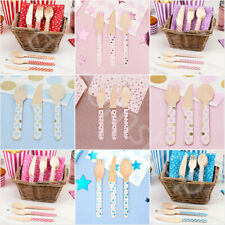 24 Pc Wooden Disposable Cutlery Set Birthday Party Tableware Knives/Forks/Spoons