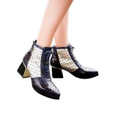 Ankle Boots Woman Cross Tie Hoof High Heels Pointed Toe Shoes For Winter Autumn