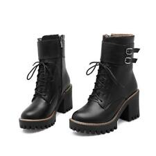 Ankle Boots Autumn Winter Buckle Ladies Lace Up Platform Womens High-heels Shoes