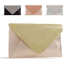 Ladies Metallic Clutch Bag Diamante Envelope Evening Bag Handbag Purse KZ2323