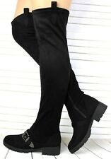 NEW WOMENS LADIES THIGH HIGH OVER THE KNEE LOW HEEL FLAT ZIP UP BOOTS SHOES SIZE