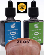 ZEOS Premium Beard Oils ZEOS Inspire Or ZEOS Radiance 30ml + Wooden Beard Comb
