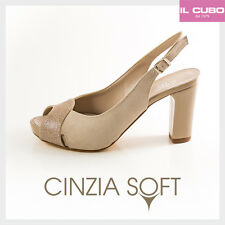 CINZIA SOFT SANDALO DONNA NABUK COLORE BEIGE TACCO H 8 CM MADE IN ITALY
