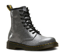 Dr Martens 1460 J 1460Y Delaney 8 eyelet gunmetal glitter boots with laces & Zip