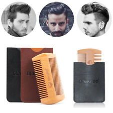 Wooden Beard Comb Anti Static Comb with Fine Coarse Teeth Hair Mustaches Brush--