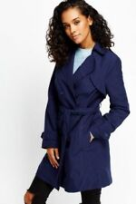 Ladies Double Breasted Womens Trench Mac Coat Belted Fashion Jacket Size UK 10