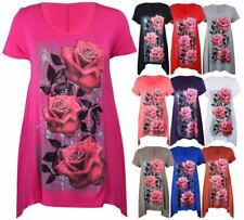 Womens Glitter Rose Print Hanky Hem Long Top Ladies Scoop Neck Shirt Plus Size