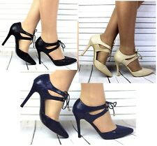 New Womens Pointed Toe Ankle Strappy Pumps High Heels Lace Up Sandals Shoes Size