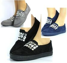 NEW WOMEN LADIES FLAT SLIP ON PLIMSOLL SNEAKERS TRAINERS SKATER SHOES PUMPS SIZE