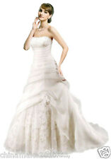 New White lvory Wedding Dress Bridal Prom Ball Gown Size 6 8 10 12 14 16