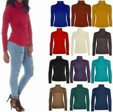 Womens Polo Roll Neck Plain Shirt Top Ladies Casual Stretchable Jumper Top