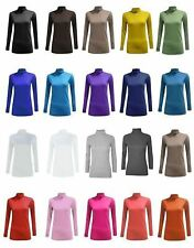 Ladies Polo Roll High Neck Plain Shirt Top Womens Stretchable Casual Jumper Top