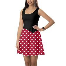 Minnie Rock The Dots Disney Inspired Sleeveless Dress XS-5XL Sleeveless Flared S