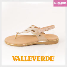 VALLEVERDE SANDALO INFRADITO DONNA COLORE BEIGE ZEPPA H 2 CM SHOES MADE IN ITALY