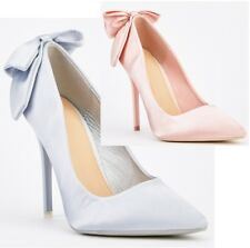 New Ladies Slip On Satin Bow High Heel Court Shoe in Silver , Baby Pink Size 3-8
