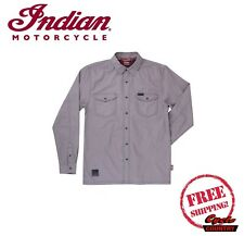 GENUINE INDIAN MOTORCYCLE BRAND MEN'S WASHED COTTON TWILL SHIRT GRAY NEW