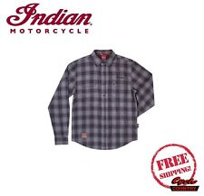 GENUINE INDIAN MOTORCYCLE BRAND MEN'S COTTON PLAID SHIRT GRAY BLACK BUTTON UP