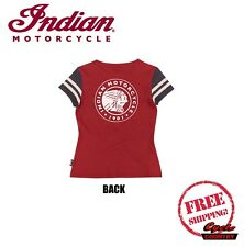 GENUINE INDIAN MOTORCYCLE BRAND T-SHIRT TEE WOMENS LADIES CONTRAST ICON RED NEW