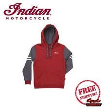 GENUINE INDIAN MOTORCYCLE BRAND HOODIE WOMENS LADIES QUILT STITCH RED GRAY NEW