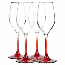 Set of 4 Coloured Stem Champagne Flutes White Wine Glasses Glass - Made in Italy