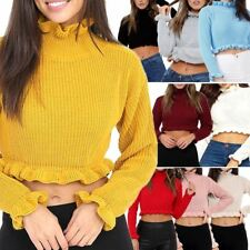 New Women Plain Knitted Chunky Ruffle Frill Jumper Sweater Cropped Top Size 8-14