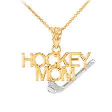 0.925 Sterling Silver /& Gold Plated Ice Hockey Stick Charm Sports Pendant