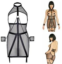 Leg Avenue Lingerie Open Wet Look Fishnet Bondage Dress with Restraints (KI4025)