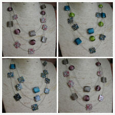 Wholesale 4 - 8 -12 Mother of Pearl Shell Necklaces Multi Strands  in 2 Colours